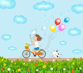 girl riding bicycle and dog running in a good day