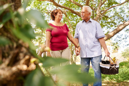Old Man Woman Senior Couple Walking With Picnic Basket