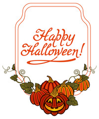 """Funky label with Halloween pumpkin and text """"Happy Halloween!"""" Original design element for greeting cards, invitations, prints. Vector clip art."""
