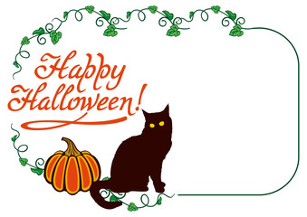 "Horizontal frame with black cat, pumpkin and text ""Happy Halloween!"".Original design element for greeting cards, invitations, prints. Vector clip art."