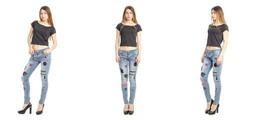 Portrait of woman on white background wearing jeans