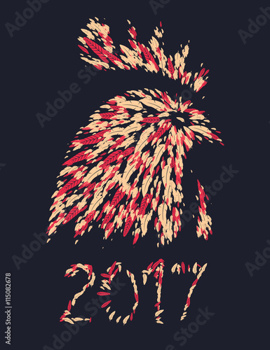 Chinese calendar for year of rooster 2017. Cock - Symbol of New Year ...