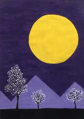 Violet Mountain and the moon. Primitive art