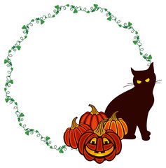 Round frame with black cat and Halloween pumpkins.Original design element for greeting cards, invitations, prints. Vector clip art.