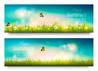 Happy summer holidays banner with flowers, grass and butterflies