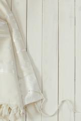 White Prayer Shawl - Tallit, jewish religious symbol