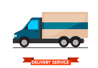 Delivery concept. Truck. Flat style vector illustration delivery service concept.