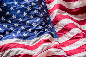 USA flag. American flag. American flag blowing wind. Fourth - 4th of July.