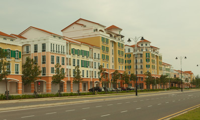 Empty new build Street in Hot Summer weather, Miri Borneo Malaysia