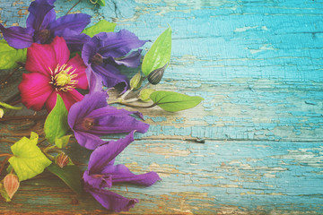 Background with blue Clematis flowers on cracked paint wooden planks