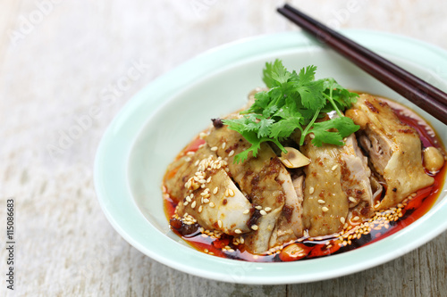 ... chicken, poached chicken with chili oil sauce, China Sichuan cuisine