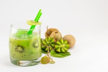 Fresh kiwi fruit with kiwi juice for healthy dessert