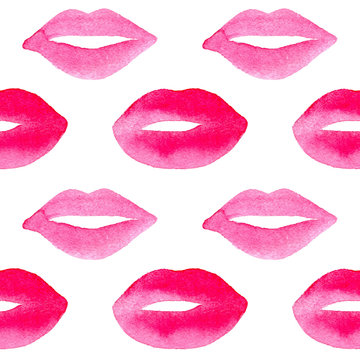 Hand drawn watercolor pink lips. Vector seamless pattern for nail studio and beauty salon, for cards, wallpapers, backgrounds for a valentines day.
