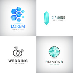 Vector set of jewelery logos, diamond illustration, crystal icons