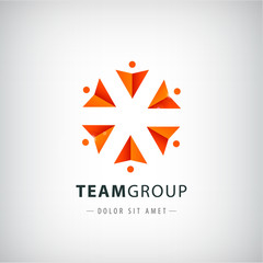 vector teamwork logo, social net, people together icon,