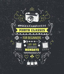 Vector photography classes, educational studio poster