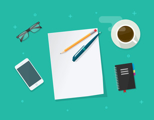 Empty paper sheet with pencil pen on workdesk vector illustration top view, concept of working table of student or pupil, flat education things on green color background