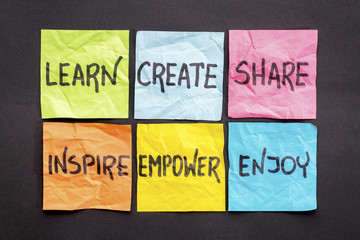learn, create, share, and inspire Wall mural