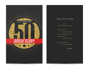 50th anniversary decorated greeting card template.