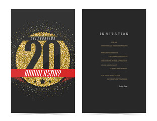 20th anniversary decorated greeting card template.