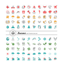 Set of 100 web icons. Season, weather.