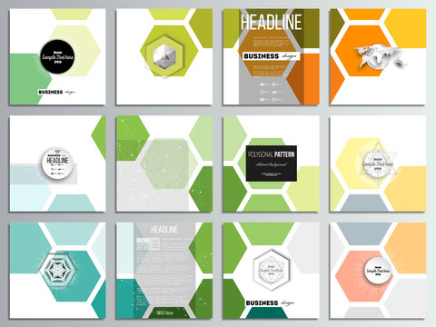 Set of 12 creative cards, square brochure template design. Abstract colorful business background, modern stylish hexagonal vector texture