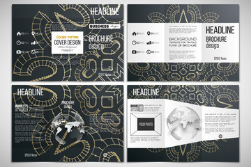 Set of tri-fold brochure design template on both sides with world globe element. Polygonal backdrop, golden connecting dots and lines, connection structure. Digital scientific background