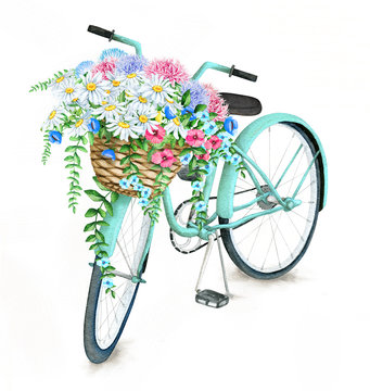 Watercolor hand drawn turquoise bicycle with beautiful flower basket. Illustration isolated on white background