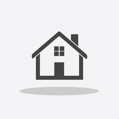 Grey home icon isolated on white background