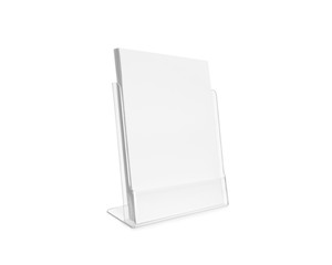 Blank flyer mockup glass plastic transparent holder isolated. Plain flier stand. Clear brochure holding. Clean sheet mock up design presentation. Shows flyer. Pamphlet design. Empty paper template.