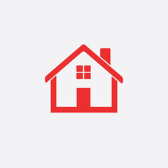 Red home icon isolated on white background