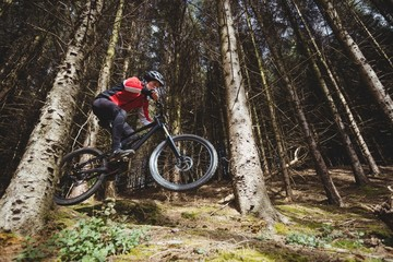 Mountain biker jumping with bicycle
