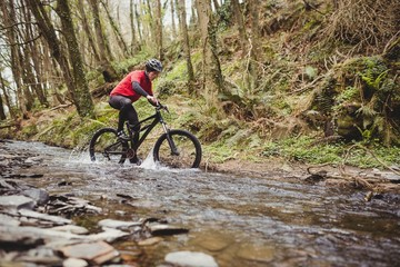 Mountain biker in stream at forest