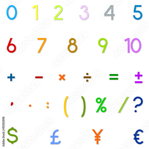 Numbers Arithmetic Operations And Currencies Symbols For Calculator