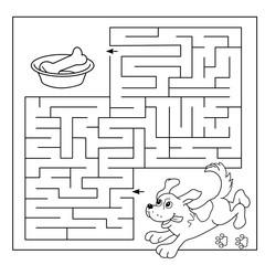 Cartoon Vector Illustration of Education Maze or Labyrinth Game for Preschool Children. Puzzle. Coloring Page Outline Of dog with bone. Coloring book for kids.
