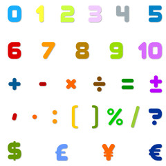 Numbers, Arithmetic operations and currencies symbols for Calculator, kids movies, Games and animations designers