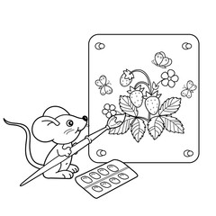 Coloring Page Outline Of cartoon little mouse with picture of mushrooms with brush and paints. Coloring book for kids