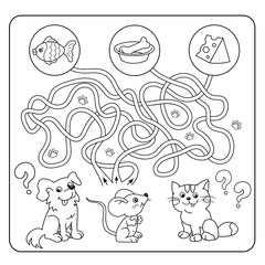 Maze or Labyrinth Game for Preschool Children. Puzzle. Tangled Road. Matching Game. Cartoon Animals and their Favorite Food. Coloring book for kids.