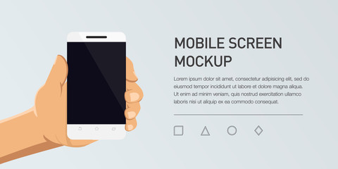 Minimalistic Vector Flat Illustration Of Mobile Phone. Mockup Generic  Smartphone. Template For Infographic Or