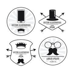 Set of label icon. Hipster style design. Vector graphic