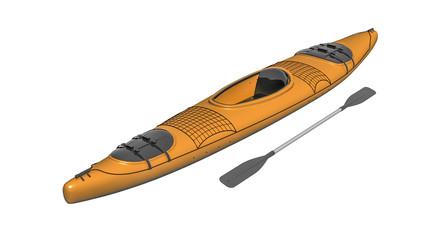 Kayak, canoe, boat with paddles isolated on white background