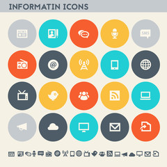 Information icon set. Multicolored flat buttons
