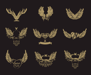 Collection of grunge tattoo wings