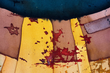 Fotobehang Hoogte schaal Abstraction, fragment, hot batik, background texture, handmade on silk, abstract surrealism art