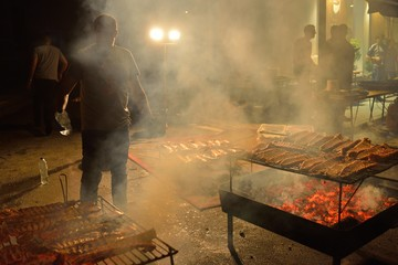 People Cooking Grilled Sardines in San Xoan Night Festive Day