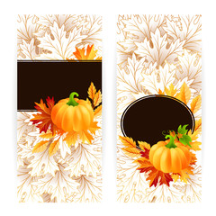 Autumn banners with pumpkin and fall maple tree leaves.