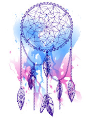Handdrawn dream catcher with watercolor effect.