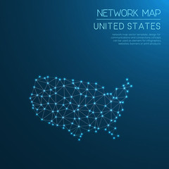 United States network map. Abstract polygonal map design. Internet connections vector illustration.