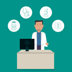 Doctor icon. Medical and Health care design. Vector graphic