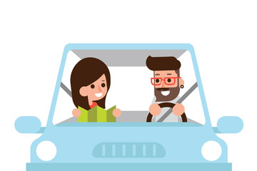 Couple driving car.